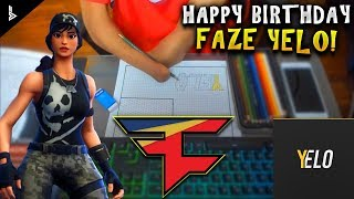 DRAWING FAZE YELO'S LOGO WITHOUT HANDS?! W/FORTNITE WIN