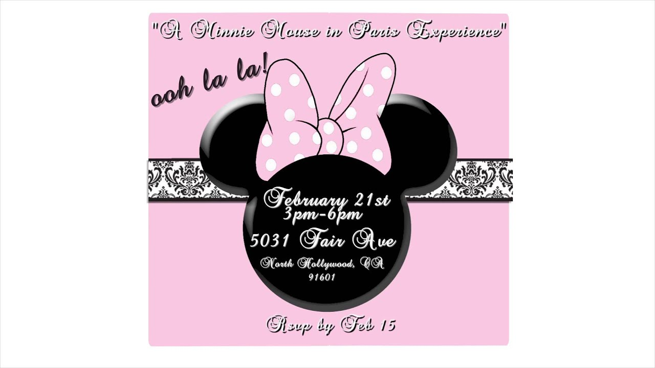 Minnie Mouse in Paris themed Animated birthday invitation