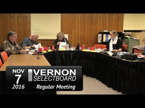 Vernon Selectboard Mtg 11/7/16