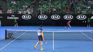 Monfils dodges a Raonic serve in the warm-up | Australian Open 2016