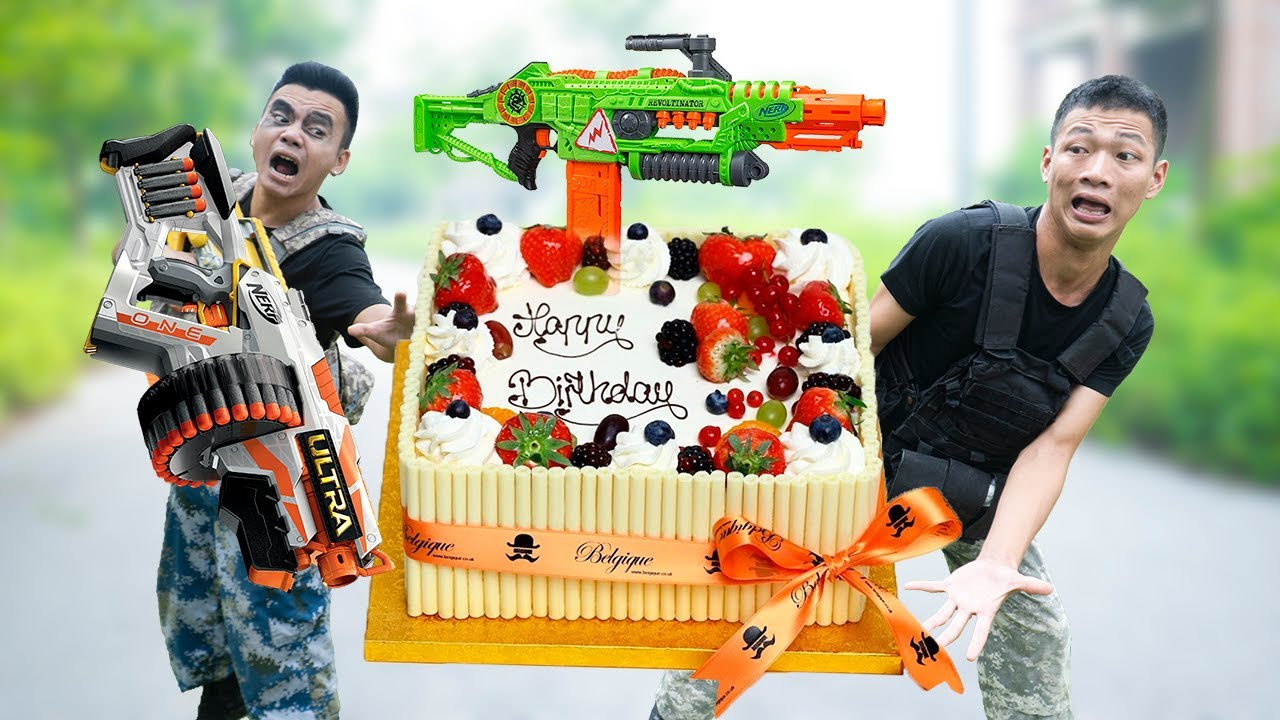 Battle Nerf War: Struggles Nerf Guns BIRTHDAY CAKE BATTLE WAR