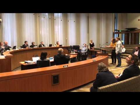 Palo Alto Players singing at City of Palo Alto City Council Meeting on March 21, 2016