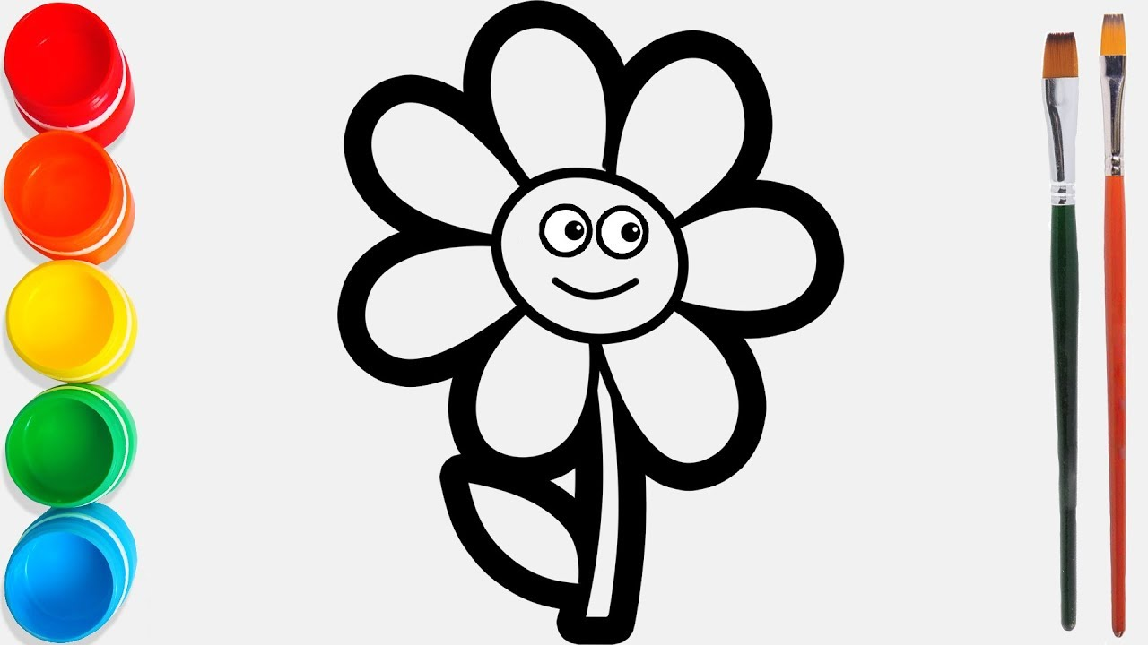 Glitter Flower With Eyes Drawing And Coloring Pages For Kids Joy Kids Art
