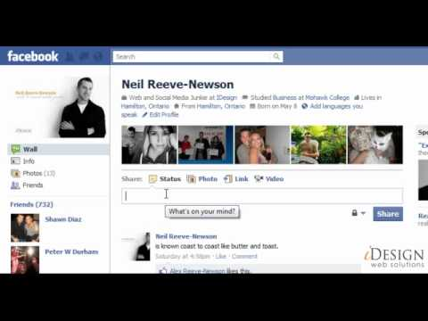 New Facebook Layout - How to write on the wall and update status