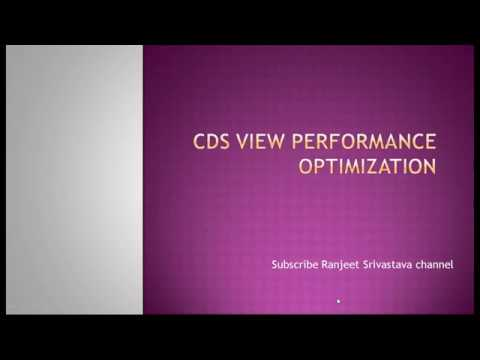 CDS View Performance Optimization