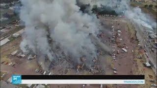 شاهد صورا حية لانفجار سوق للألعاب النارية في المكسيك