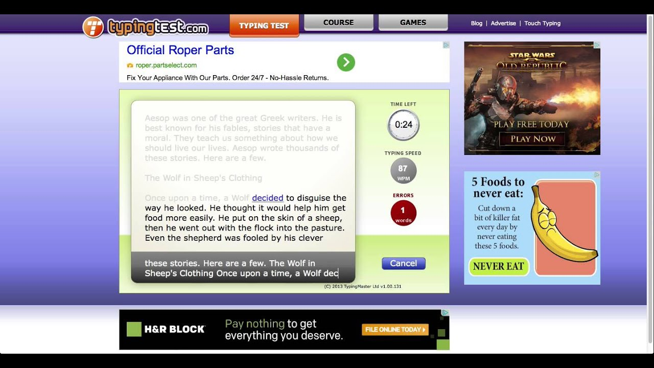 TypingTest.com Typing Test - Aesop's Fables (1 minute) - YouTube