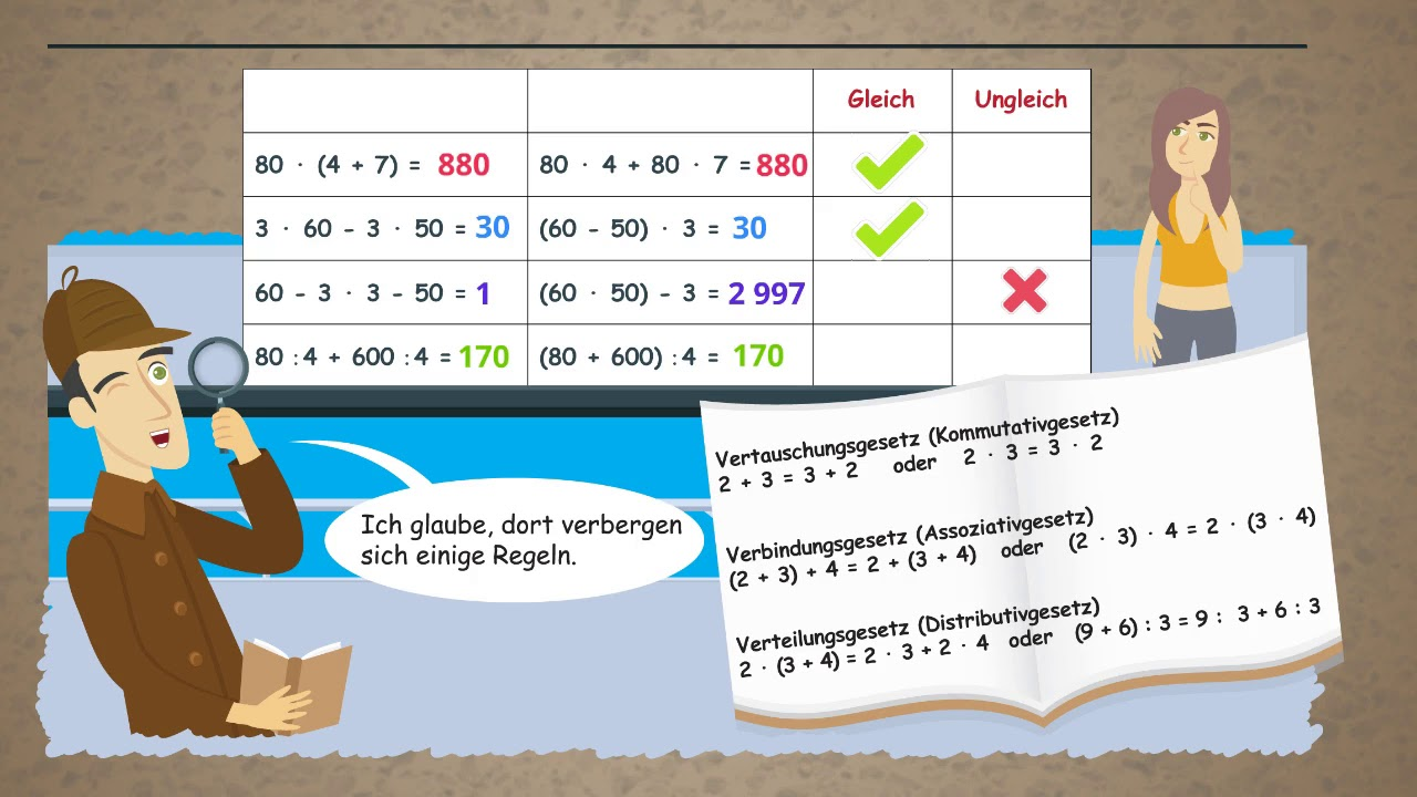 Vermischte Rechnungen - Rechenaufgaben mit Klammern, plus, minus, mal geteilt ★ Mathematik Klasse 4