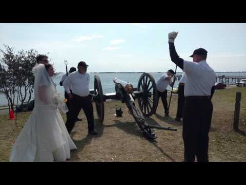 The cannon Thor firing for Sean and Sydney's wedding.