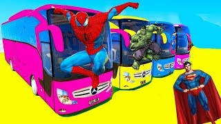 Машинки Большой Автобус и Супергерои Учим Цвета и Цифры для Детей Мультик