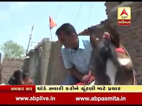 Amreli : Congress candidate horse ride in election campaign