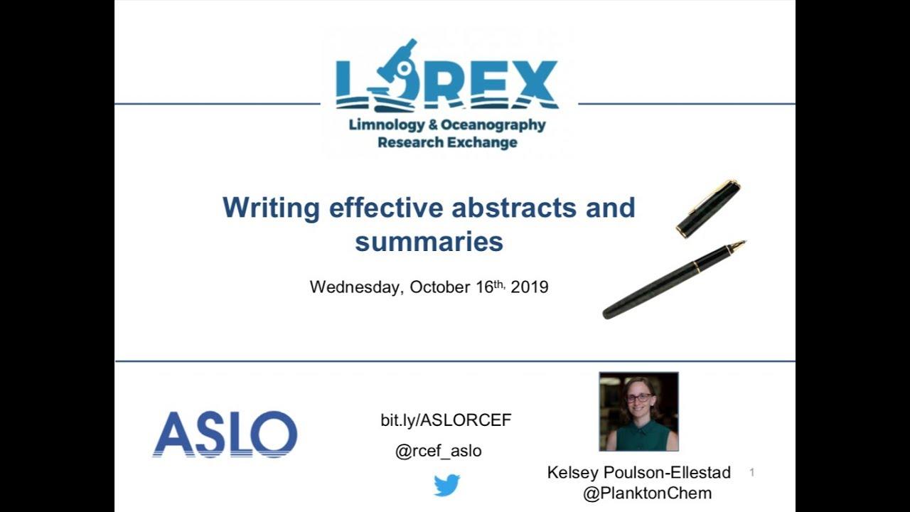Writing Effective Abstracts and Summaries Webinar - ASLO
