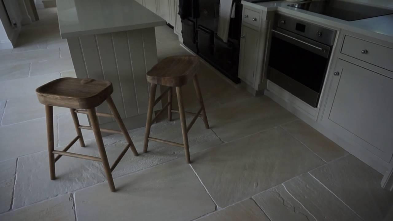 Large Format Free Length Egyptian Sandstone Floor Tile Installation