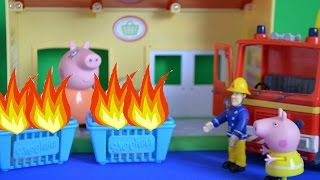 Peppa Pig Full Episode Fireman Sam Shopkins Fire Rescue Mammy Pig Peppa pig Story