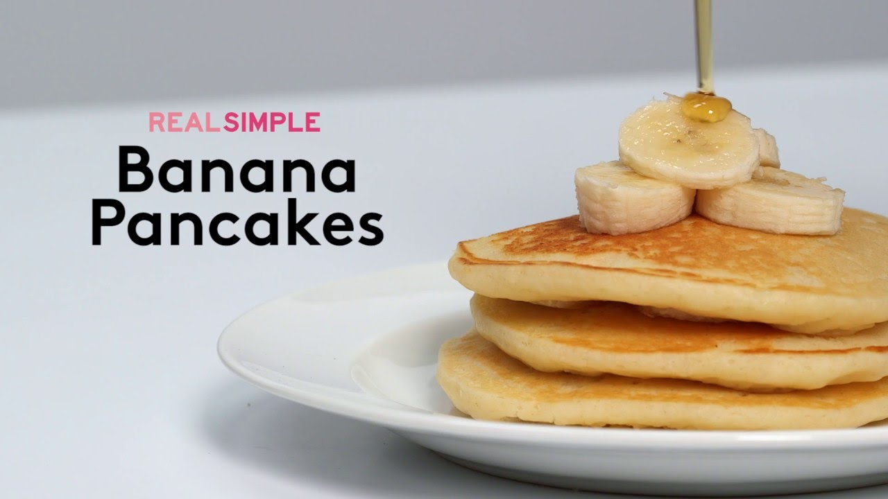 How to make amazing banana pancakes real simple youtube ccuart Image collections