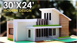 30x24 modern residential building 1bhk north side facing