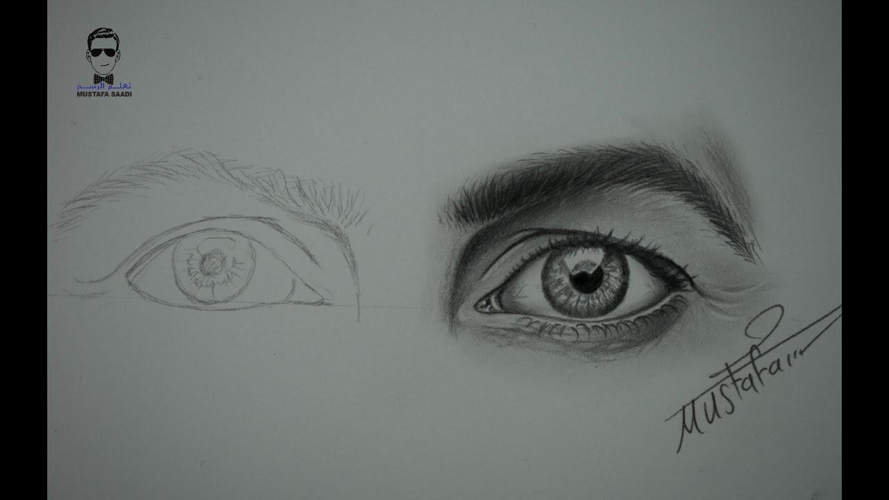 تعلم رسم العيون تخطيط وتظليل العين بشكل بطيء How To Draw Eyes Eye Drawing Pencil Portrait Drawings