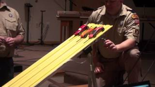 Logan's First Race in the Pinewood Derby