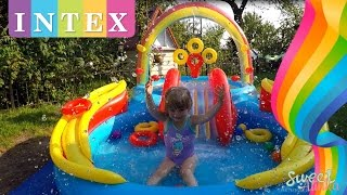 видео Детский надувной бассейн с горкой