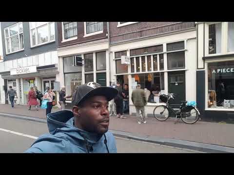Riding bikes through Amsterdam