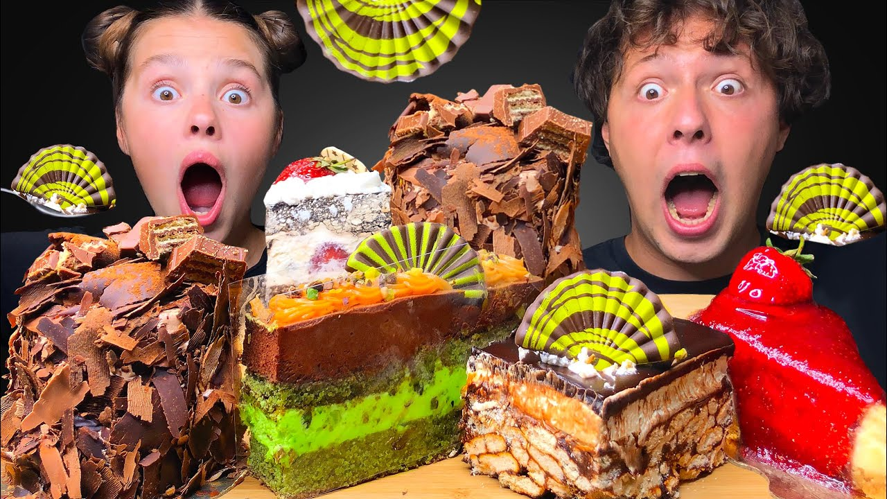 ASMR CHOCOLATE CAKE, MOSAIC CAKE, FRESH BERRY CAKE, STRAWBERRY CHEESECAKE MUKBANG EATING SOUNDS