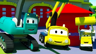 Construction Squad: the Dump Truck, the Crane and the Excavator build a Water Tower in Car City
