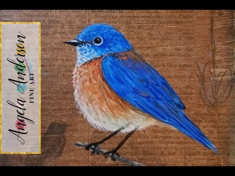 e94960b5f17 Bluebird Painting Tutorial - Free Time Lapse Acrylic Lesson  Pawgustart   Painting