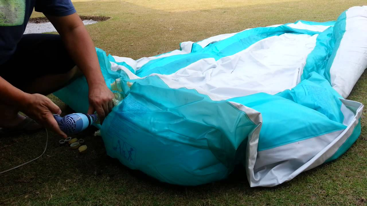 Inflating a pool using a 3 hair dryer with cool setting