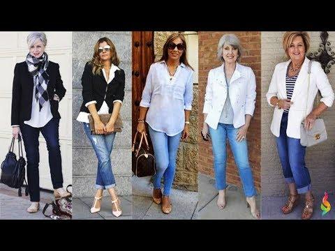 Как носить джинсы после 50 и не выглядеть дешево 💎 Как быть стильной, с чем носить женские джинсы? - Ржачные видео приколы