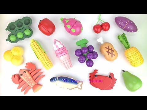Thumbnail: Learn Names of Fruits and Vegetables with Wooden toys velcro cutting Fruit Fun for Kids