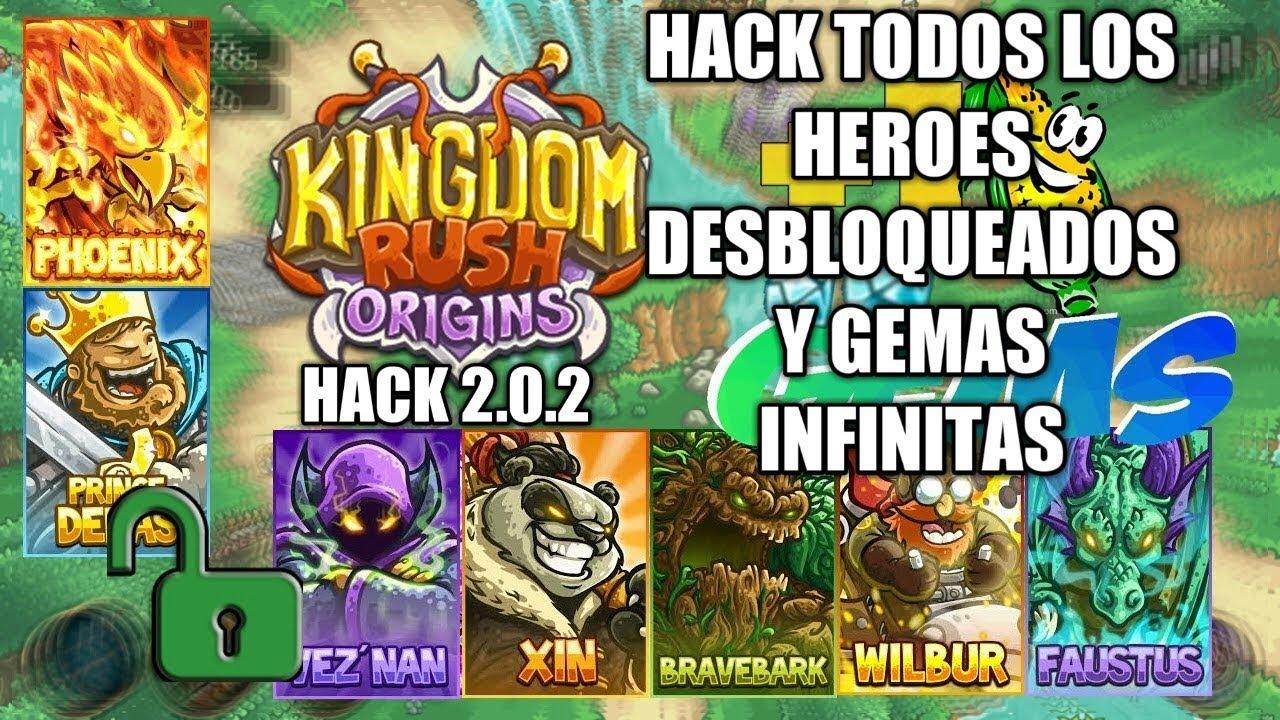 KingDom Rush Origins - Hack - Todos Los Héroes desbloqueados y Gemas  Infinitas