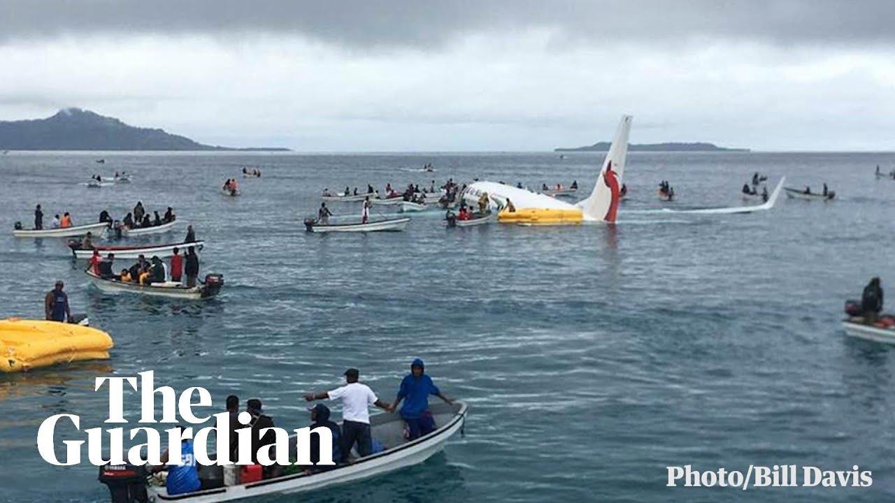 Plane overshoots runway in Micronesia and sinks