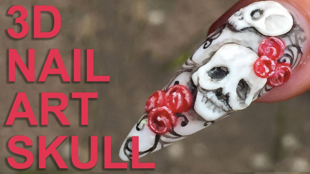 Halloween 🎃 3D Acrylic Skull Designs 💀 Naio Nails ...