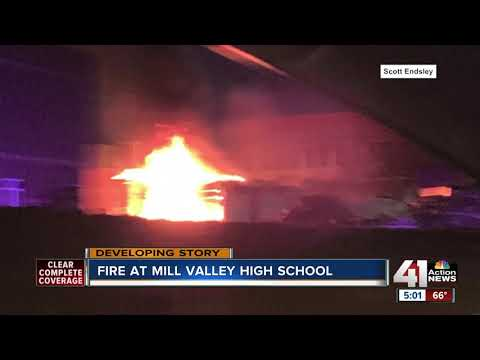 Firefighters battle fire at Mill Valley High School