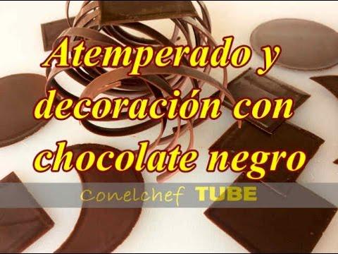 Atemperado y decoraciones con chocolate negro sin m rmol youtube - Decoracion con chocolate ...