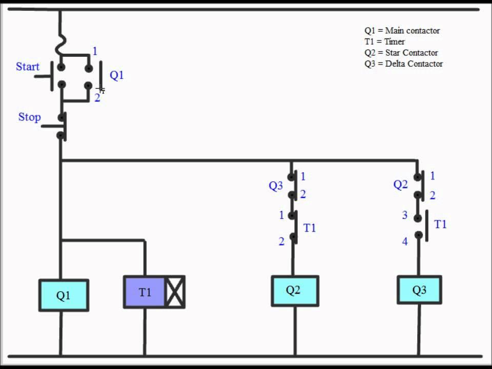 3 Phase Start Stop Wiring Diagram Pv Solar Panel Star Delta Starter Youtube