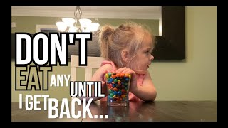 Kid's Candy Challenge - Testing My Toddler's Patience with a Bowl of Candy as I Leave the Room