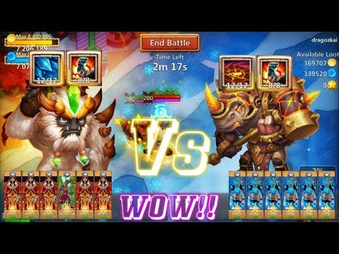 SKILL 12 ROCKNO VS SKILL 12 SASQUATCH MOST INTERESTING!!Castle Clash