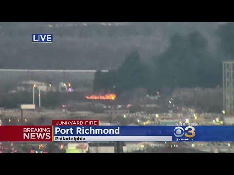 Junkyard Fire In Port Richmond Shuts Down Betsy Ross Bridge