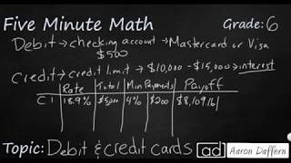 6th Grade Math Personal Financial Literacy - Debit and Credit Cards