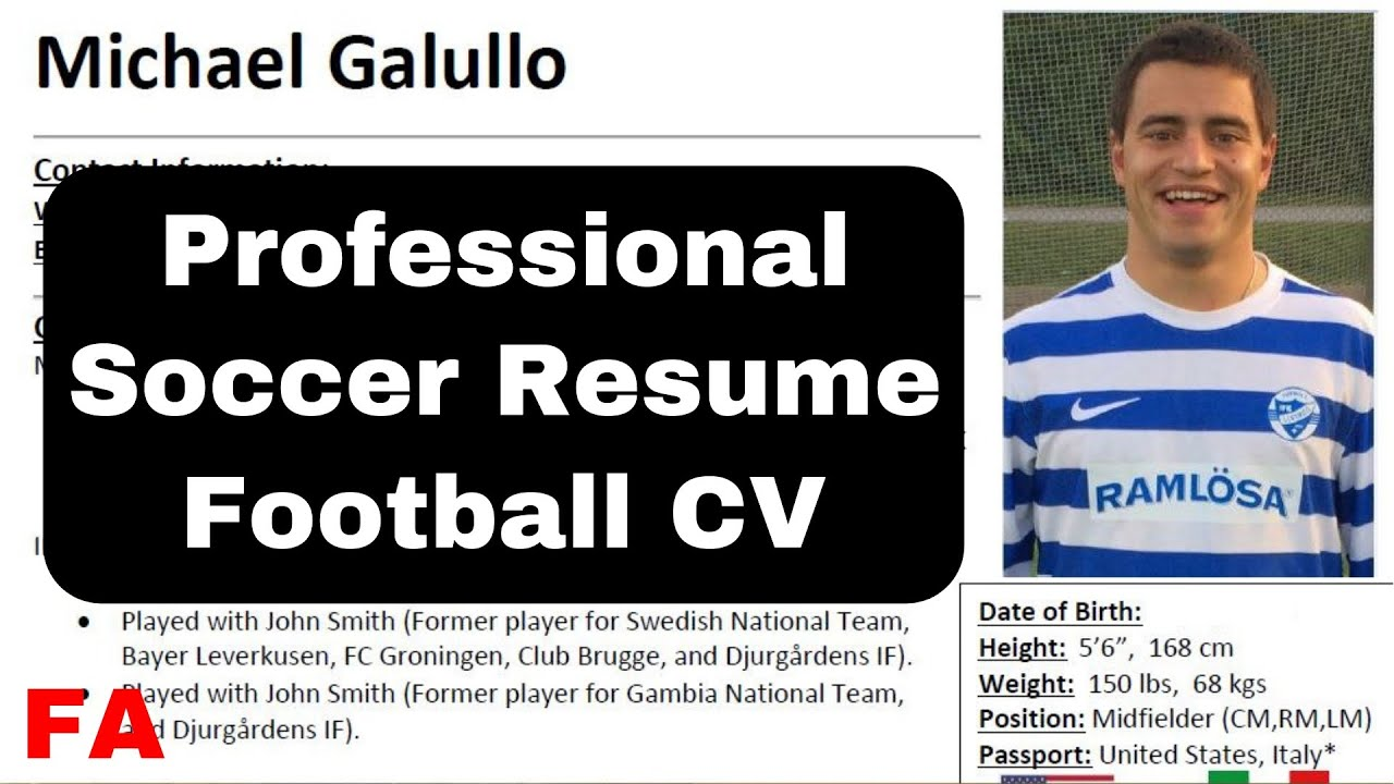 how to make a soccer resume football cv youtube