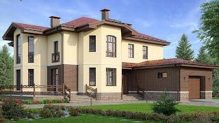 Проект дома в европейском стиле из кирпича. Дом с гаражом, сауной и бассейном. Ремстройсервис М-159