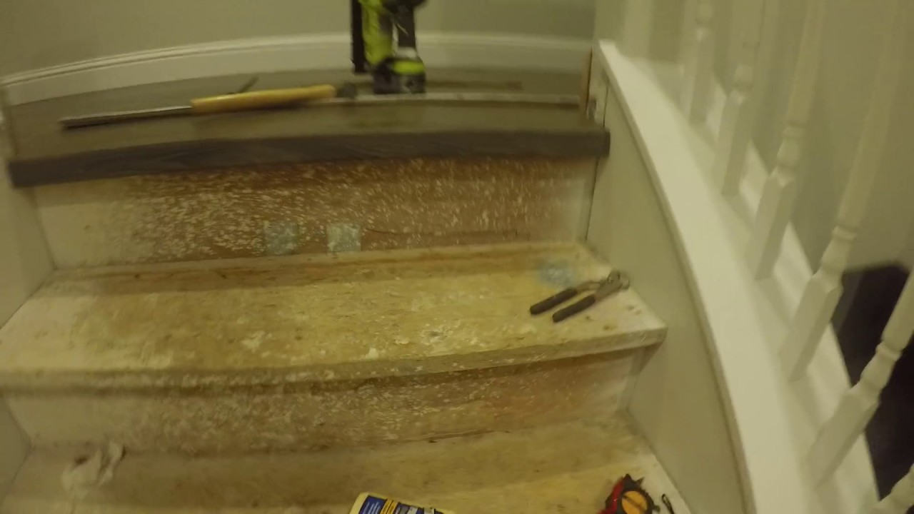 Custom Stair Nose Transition From Wood To Carpet On