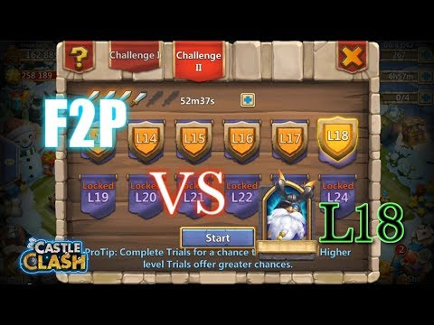 Castle Clash F2P Account Vs L18 Hero Trials