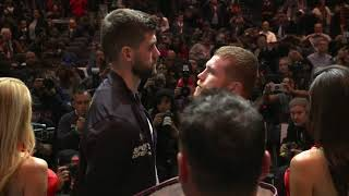 Rocky Fielding towers over Canelo at final press conference face off (Video: Golden Boy Promotions)