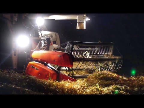 รถเกี่ยว รถเกี่ยวข้าว harvester # รถเกี่ยว คูโบต้า เกี่ยวข้าวล้มตอนหัวค่ำ