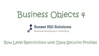Business Objects 4x Information Design Tool - Row Level Restrictions using Data Security Profiles