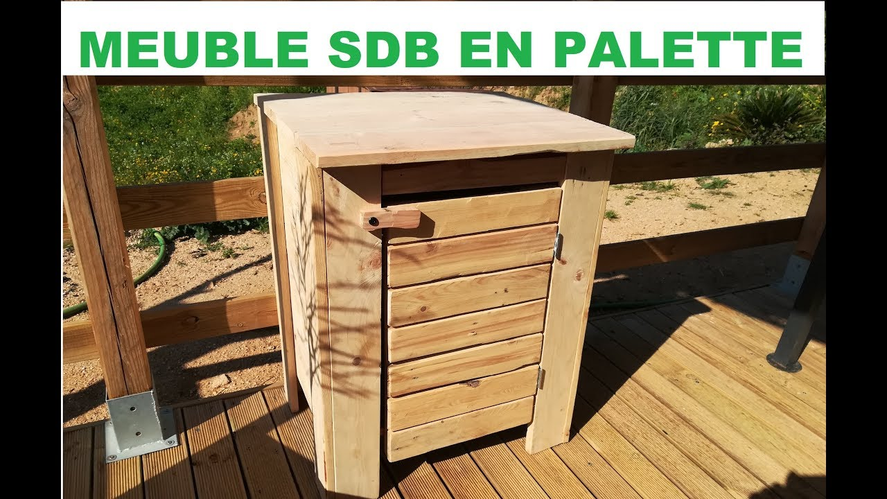 faire un meuble de salle de bain en palette youtube. Black Bedroom Furniture Sets. Home Design Ideas