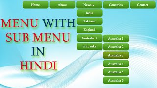 how to create dropdown menu with submenus in html and css hindi