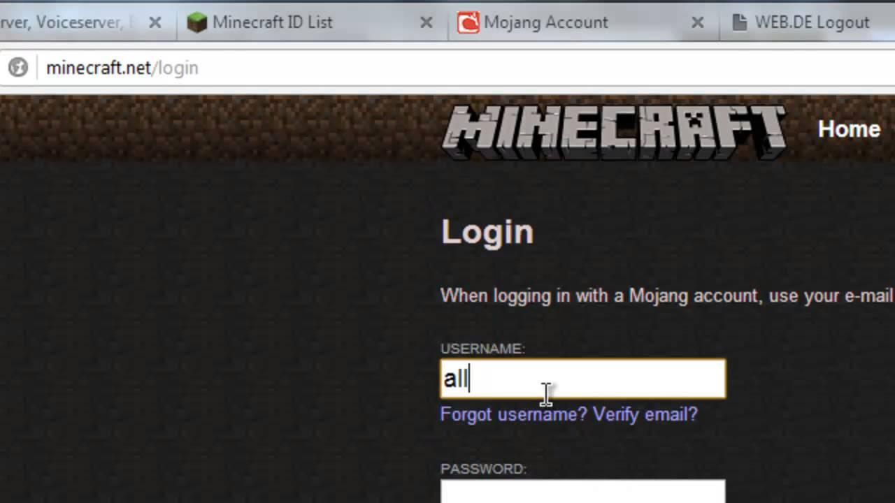 Minecraft Launcher Password Skin Change Lag YouTube - Minecraft name andern login